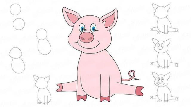 Как нарисовать свинью на новый год 2020